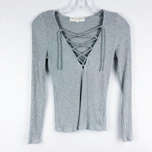 Project Social T X UO | Gray Ribbed Lace Up Shirt